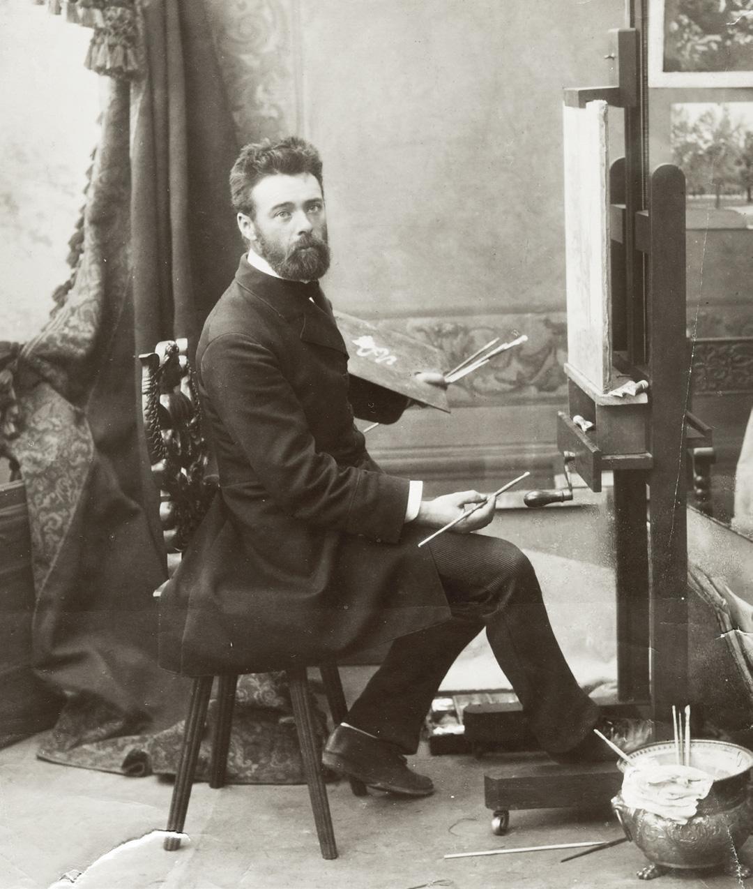 06-loeilsensible-Jean-Lacroix-Ferdinand-Hodler-au-chevalet-1883-Archives-Jura-Bruschweiler.